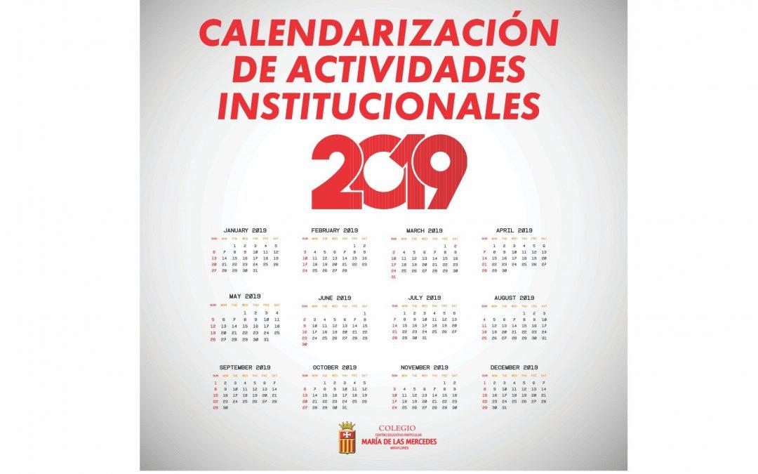 Calendarización  de actividades institucionales 2019